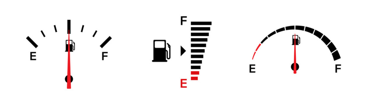 Fuel gauge indicators. Vector isolated illustration icons. Gasoline indicatiors vector collection icons. Gas meter set elements. EPS 10