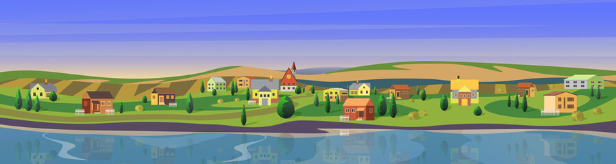 Lovely small town flat cartoon landscape countryside panorama background vector illustration. Wide clear calm river, houses between trees on riverside, large green fields. Small european city.