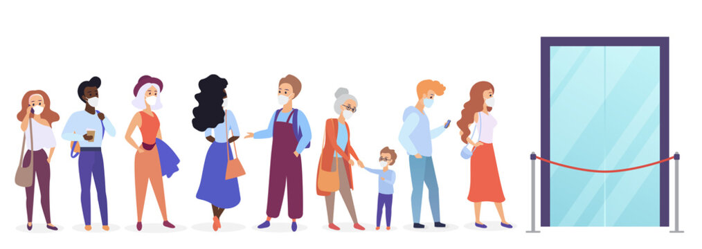 Old young people in medical face masks keep social distance in shop queue line, prevent stop corona virus spread flat cartoon vector illustration. Lack of products goods scarcity store work limitation