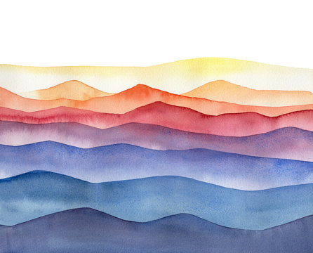 Abstract watercolor colorful illustration of mountain hills on white background.