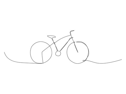 Continuous bike line vector illustration isolated on white background. Bicycle one line.