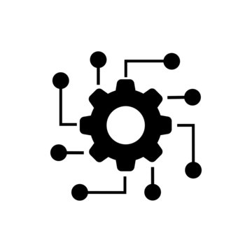 Automated system line icon on white background. Vector illustration.