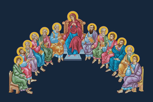 12 apostles and virgin Maria. Part of Pentecost icon in byzantine style