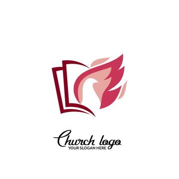 Church logo. Christian symbols. Dove and flame on the picture of open pages.