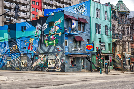 Wall corner of St Denis and Rigault streets in Montreal Quebec Canada