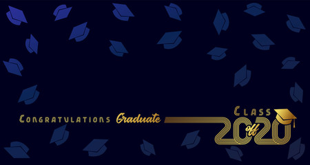 Class off 2020, congratulation graduate, gold lines design. Vector graduation illustration 2020 in golden academic cap on dark blue background with flying hats