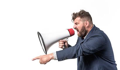 Foto auf Acrylglas Artist KB Plump boss yelling with a bullhorn