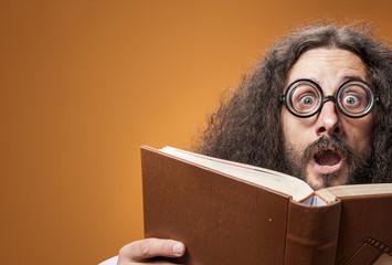 Deurstickers Artist KB Closeup portrait of a weird, skinny nerd