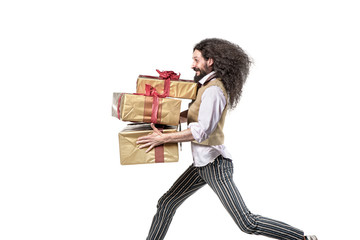 Skinny man running with the bunch of presents