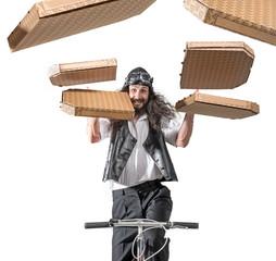 Cheerful pizza man on a bike