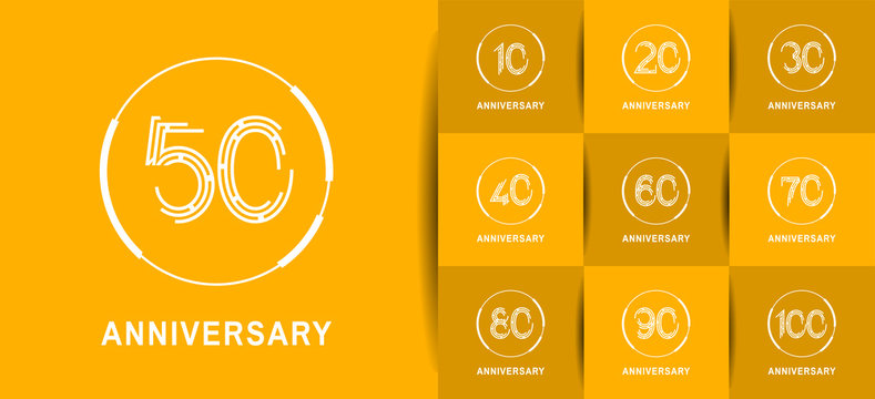 Anniversary logotype set with white color. vector design for celebration purpose, greeting, invitation card