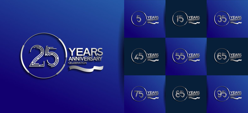 Anniversary logotype set with silver color. vector design for celebration purpose, greeting, invitation card