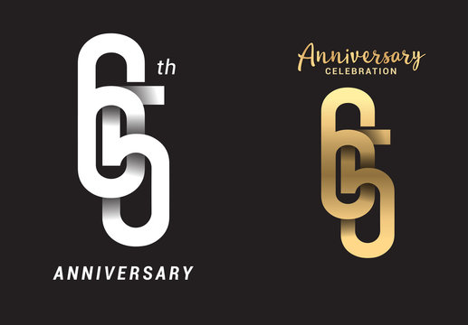 65 years anniversary celebration logo design. Anniversary logo Paper cut letter and elegance golden color isolated on black background