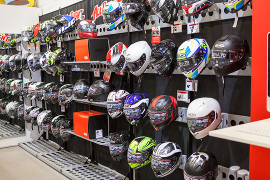 HELSINKI, FINLAND-CIRCA APR, 2018: Motorcycle outfit as helmets is in the Allright shop in Vantaa retail park. It is store with motorcycles and racing equipment selling