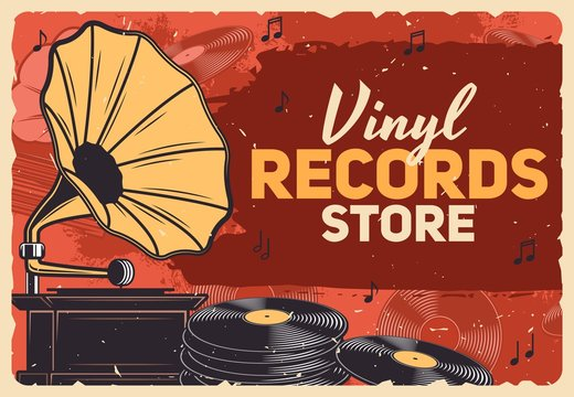 Music store, gramophone vinyl records and retro music shop vector grunge poster. Vintage vinyl record LP disks, gramophone and phonograph playing equipment and music notes