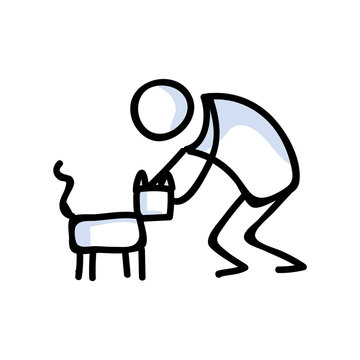 Cute stick figure petting a cat lineart icon. Kawaii kitten pictogram for pet parlor. Communication of animal character illustration. Feline vector graphic.
