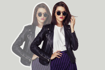 Wall Mural - Collage in fashion  style of young woman wearing black jacket