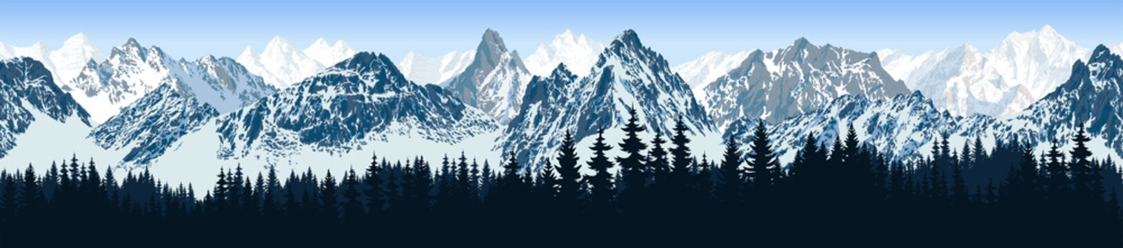 vector seamless mountains karakoram himalayan panorama background with forest