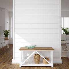 Wall Mural - Hampton style living room interior, wall mockup, 3d render
