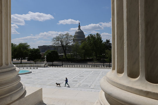 A dog walker is mostly alone on the plaza in front of the U.S. Supreme Court building, looking out at the U.S. Capitol, during the coronavirus disease (COVID-19) outbreak in Washington