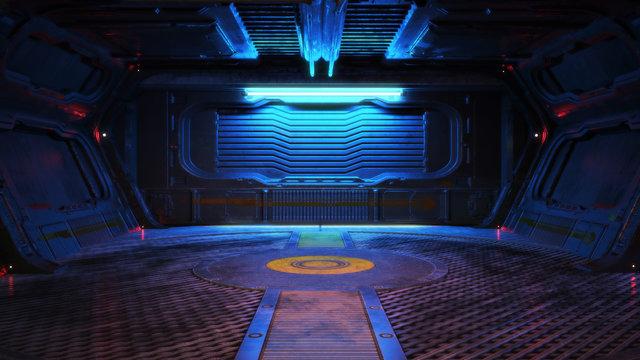 Urban city retro futuristic back drop sci fi corridor room interior with neon accents. 3d rendering.