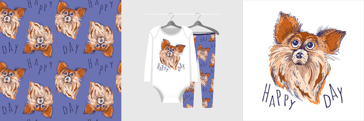 Photo sur Toile Croquis dessinés à la main des animaux Seamless pattern and illustration with sketch style dog and text Happy day. Cute design pajamas on the hanger