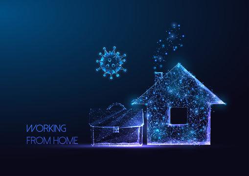Futuristic working from home during coronavirus pandemic quarantine concept