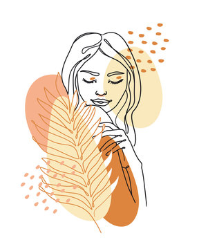 Trendy abstract continuous one line woman portrait with palm leaf and geometric shapes. Vector.