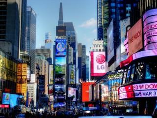 Fototapeta Illuminated Advertisements On Modern Buildings In City obraz