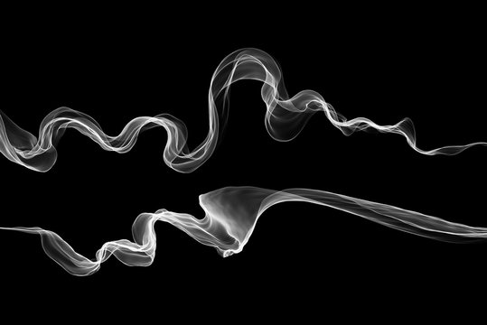 Abstract swirl white flame or Beautiful wavy smoke isolated over black background overlay. Fresh eco vawy set collection