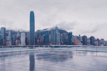 Fototapete - Hong Kong Victoria Harbour view after rain