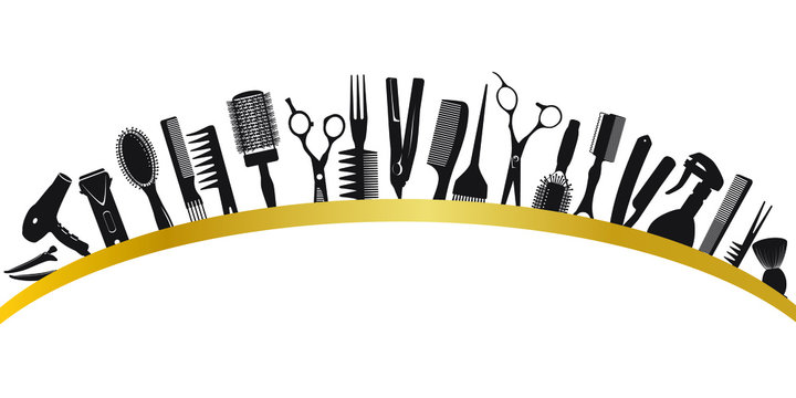 Arc from silhouettes of tools for the hairdresser
