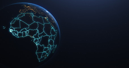 Fototapeta Africa countries outline map from space, globe planet earth from space, elements of this image courtesy of NASA obraz