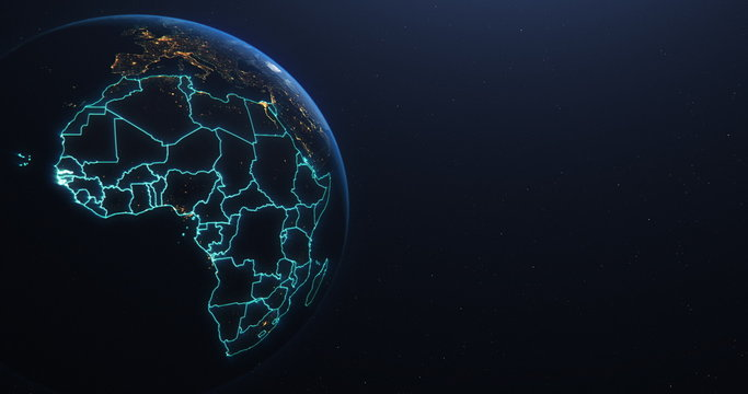 Africa countries outline map from space, globe planet earth from space, elements of this image courtesy of NASA