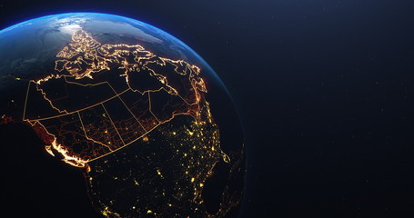 Canada map outline view from space, globe planet earth, red glow color