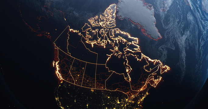 Canada map outline view from space, globe planet earth, red glow color, elements of this image courtesy of NASA