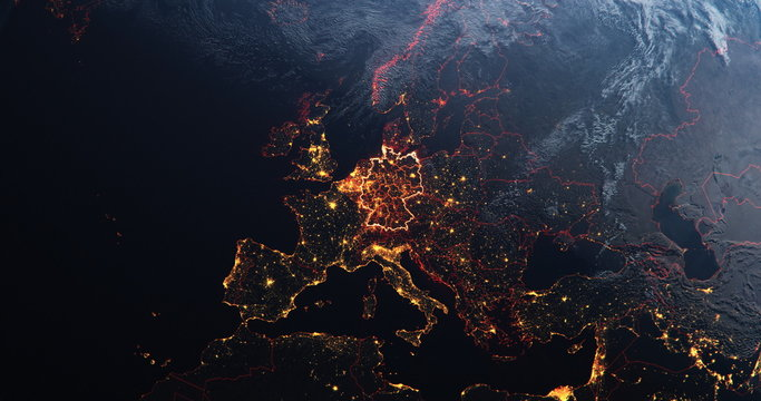 Germany map outline view from space, globe planet earth, red glow color, elements of this image courtesy of NASA