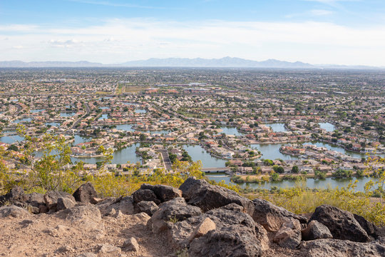Aerial drone view of typical Arizona community
