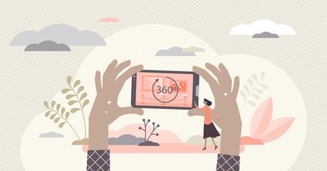 Virtual tour vector illustration. 360 round symbol flat tiny person concept Fotobehang