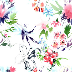 Summertime garden flowers watercolor seamless pattern on white background. Beautiful hand drawn texture