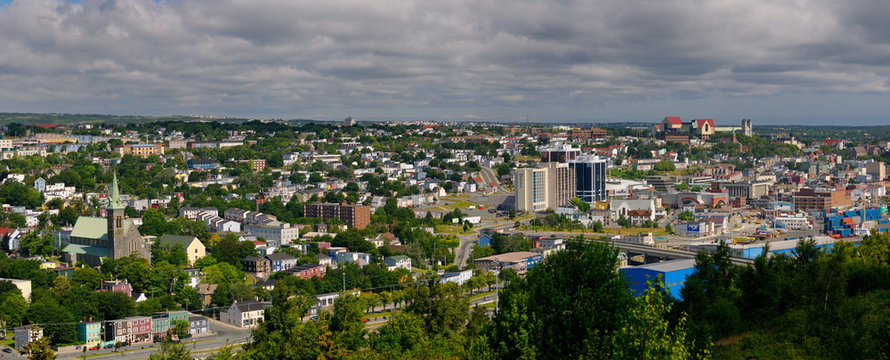 Panorama of downtown St. John`s buildings in Newfoundland Canada