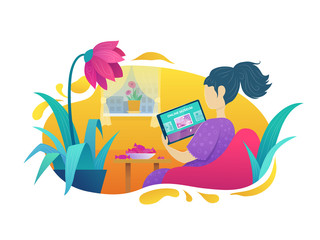 Online tour of museum. Woman visiting art exhibition with tablet computer at home in comfort. Virtual museum and art gallery interactive tour vector illustration. Stay home in quarantine concept.