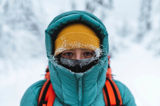 Female mountaineer in wintertime at Glen Coe, Scotland