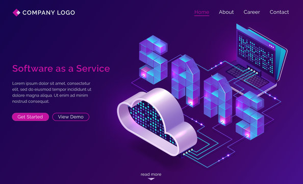 Saas, software as a service isometric landing page. Technology for using digital computer programs via internet access and subscription system. Laptop connected with cloud storage 3d vector web banner