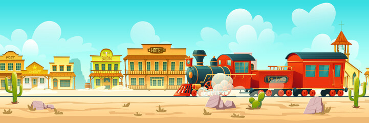 Foto auf Gartenposter Turkis Steam train in western town. Wild west desert landscape with cactuses, railroad and old wooden buildings. Vector cartoon illustration of wild west city and vintage locomotive