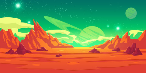 Mars landscape, alien planet background, red desert surface with mountains, craters, saturn and stars shine on green sky. Martian extraterrestrial computer game backdrop, cartoon vector illustration