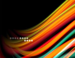 Fototapete - Silk smooth lines on black, liquid fluid color waves. Vector Illustration