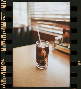 Iced coffee at the table in an American diner