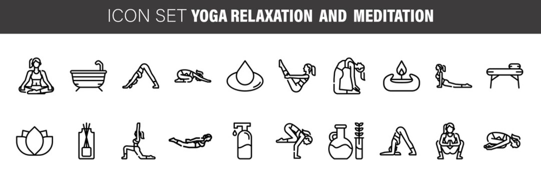 Meditation Practice Collection Icons Set Vector. Meditation Yoga Relaxation Aromatic Therapy, Human Concentration. Monochrome Illustrations