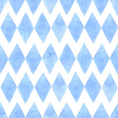 watercolor seamless pattern with blue rhombuses